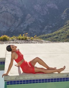 Camila Coelho Revolve Campaign Red Mesh Two-Piece