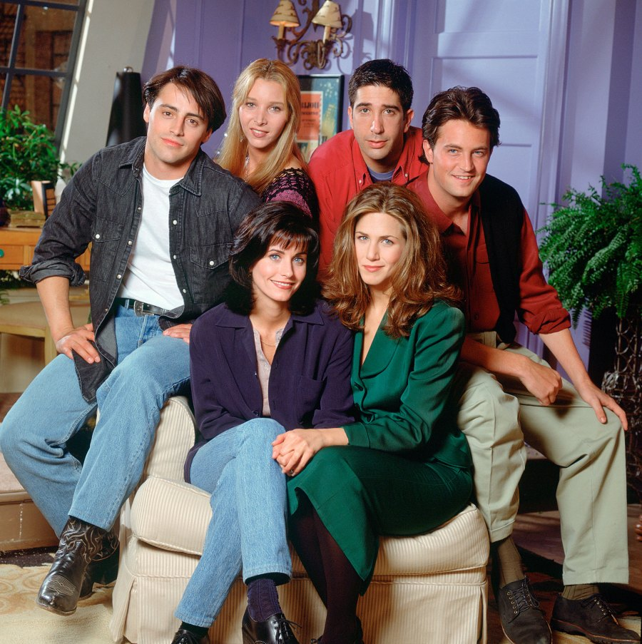 Cast of the Television Show Friends on NBC Sitting On A Chair