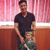 Celebrity Kids Graduating Dominic Lopez Mario Lopez Graduation Cap and Gown Navy Polo