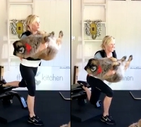 Chelsea Handler Curls Her Rescue Dog While Doing Lunges in Gym