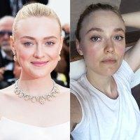 Dakota Fanning No Makeup Selfie Before and After