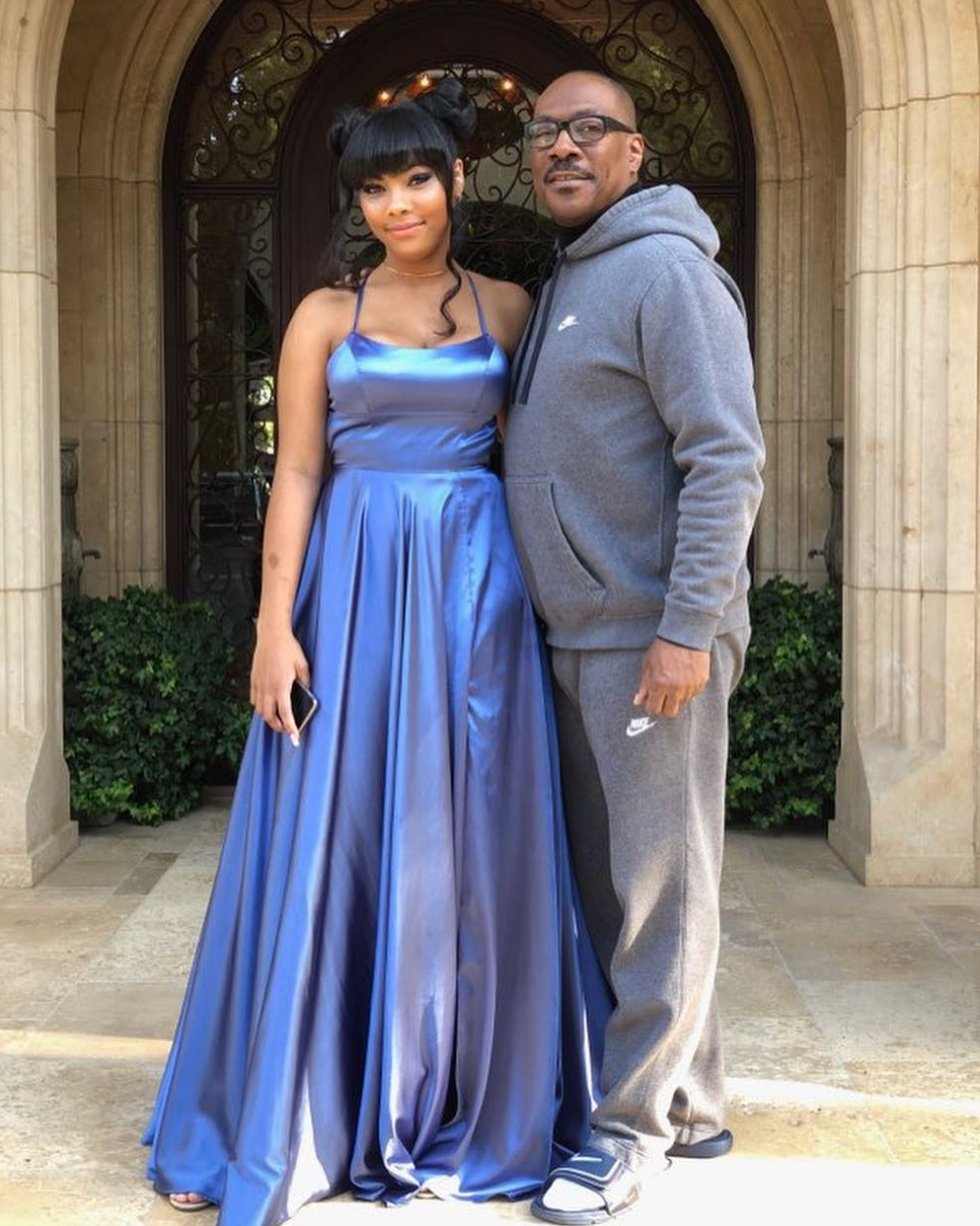"Eddie-Murphy-daughter-prom - ""My beautiful baby girl heading to Prom,"" the actor's ex-wife captioned an Instagram spread of Bella, 17, who paired a blue gown with space buns."