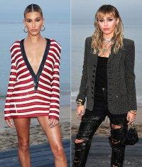 Hailey Bieber Miley Cyrus Saint Laurent Mens Show