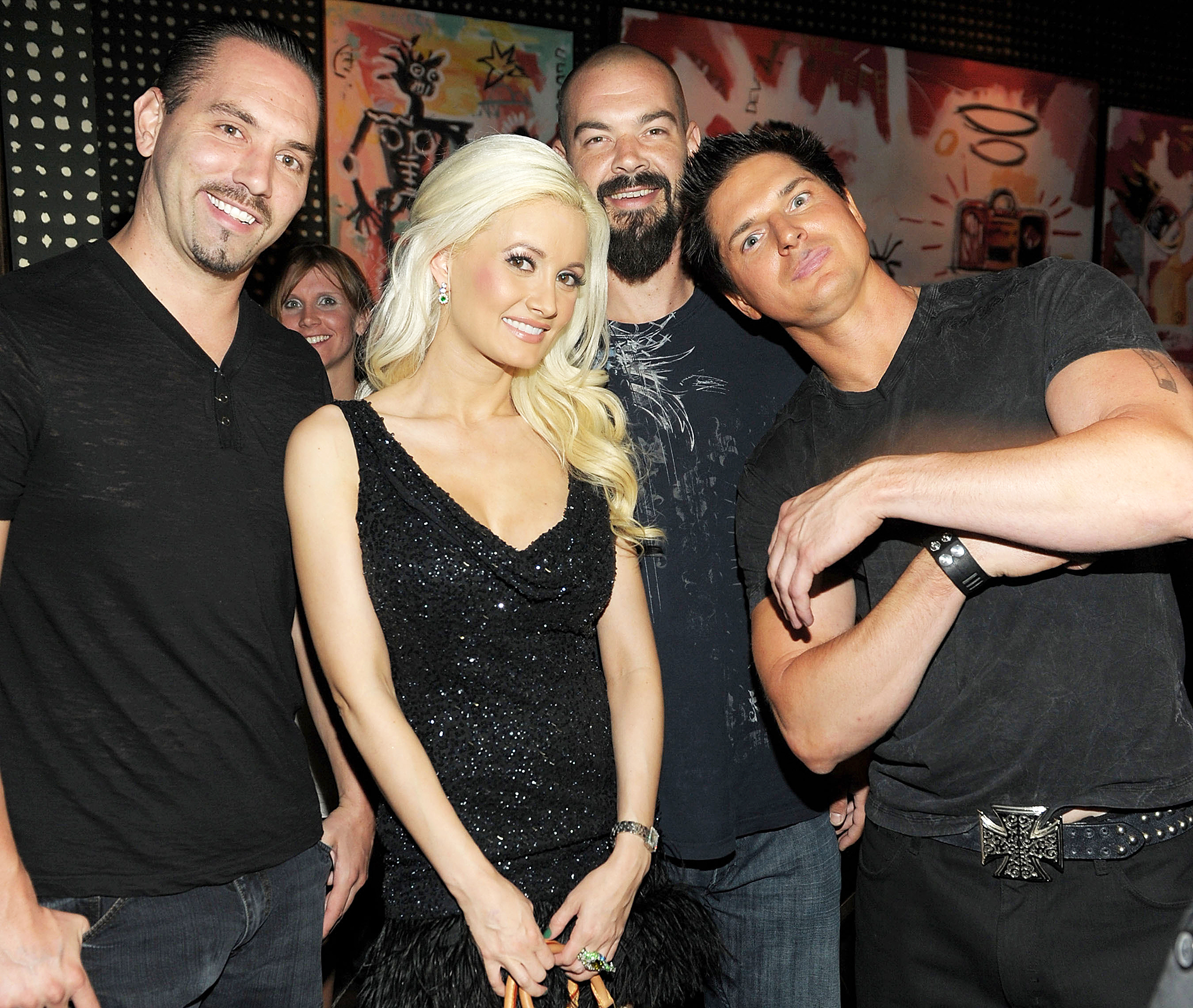 Nick Groff Holly Madison Aaron Goodwin and Zak Bagans celebrate the 4th anniversary of Blush Boutique Nightclub at Wynn Las Vegas in 2011