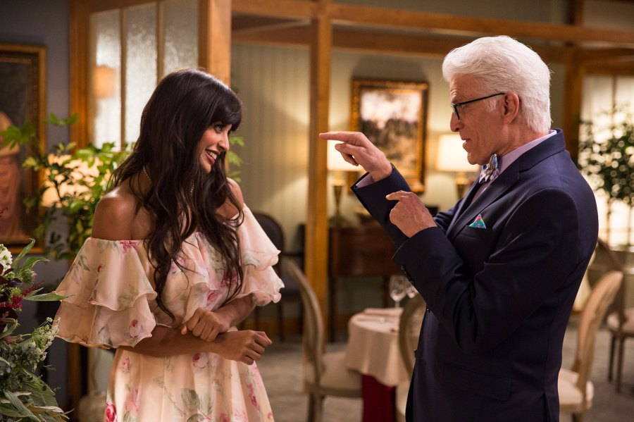 Jameela Jamil and Ted Danson The Good Place