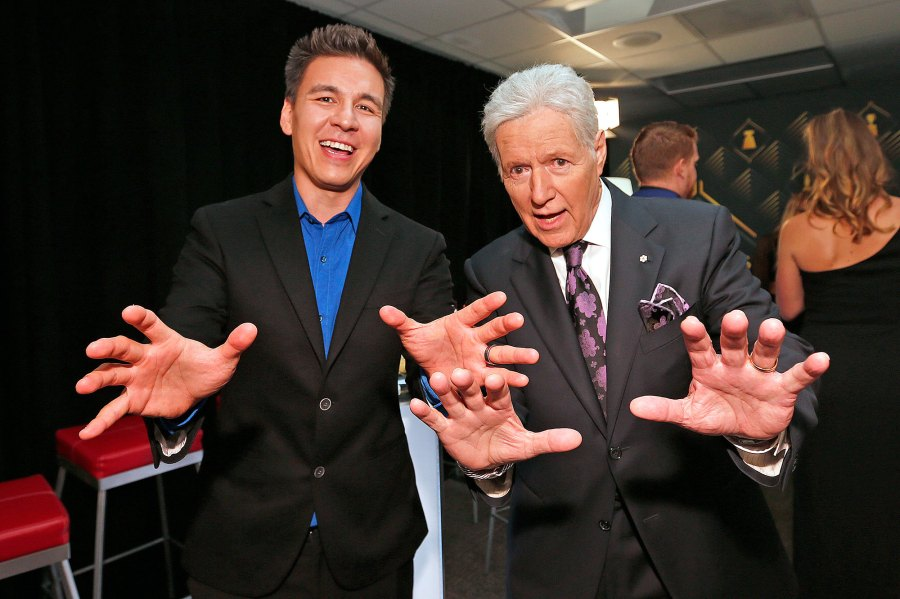 James Holzhauer Jeopardy Champion and Alex Trebek Smile Hand Gesture Cancer Charity