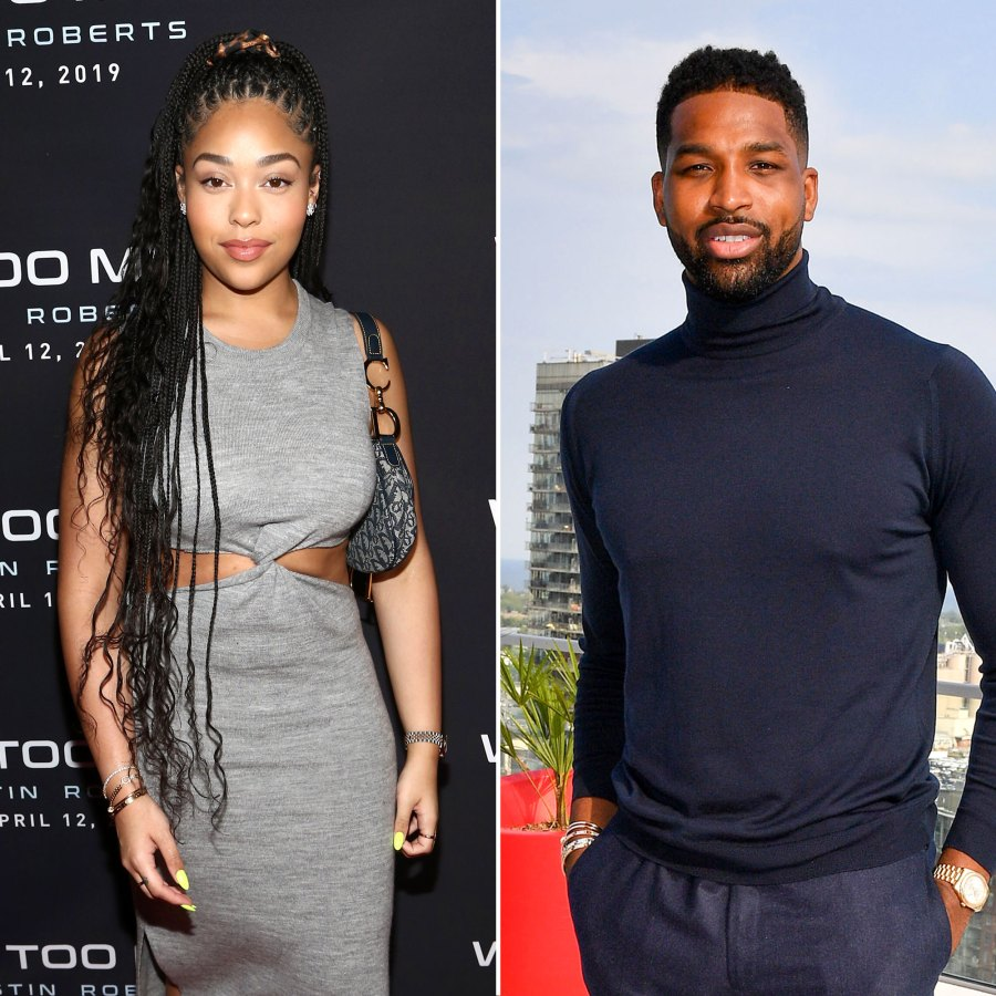 Jordyn Woods Wearing A Grey Dress and Tristan Thompson Wearing a Blue Turtleneck on a RoofTop Cheating Scandal KUWTK