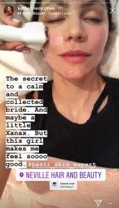 Katharine McPhee Pre Wedding Facial Instagram Story