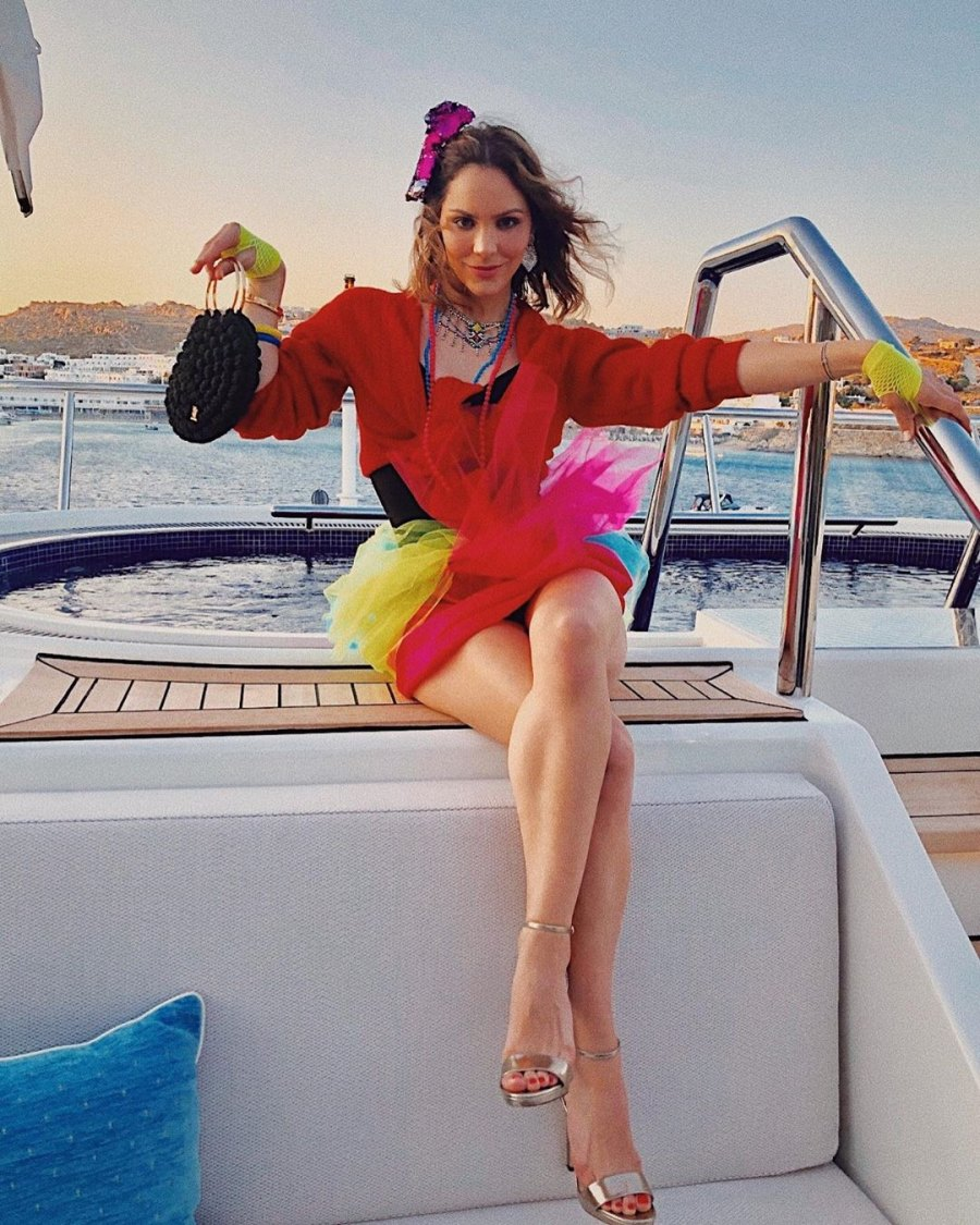 Katharine McPhee and David Foster Enjoy Pre-Wedding Vacation in Greece Mykonos Yacht Party 80s colorful outfit