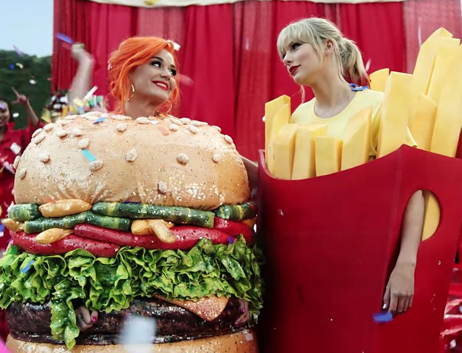 Katy Perry Dressed as a Hamburger and Taylor Swift Dressed as French Fries in the Video for You Need To Calm Down