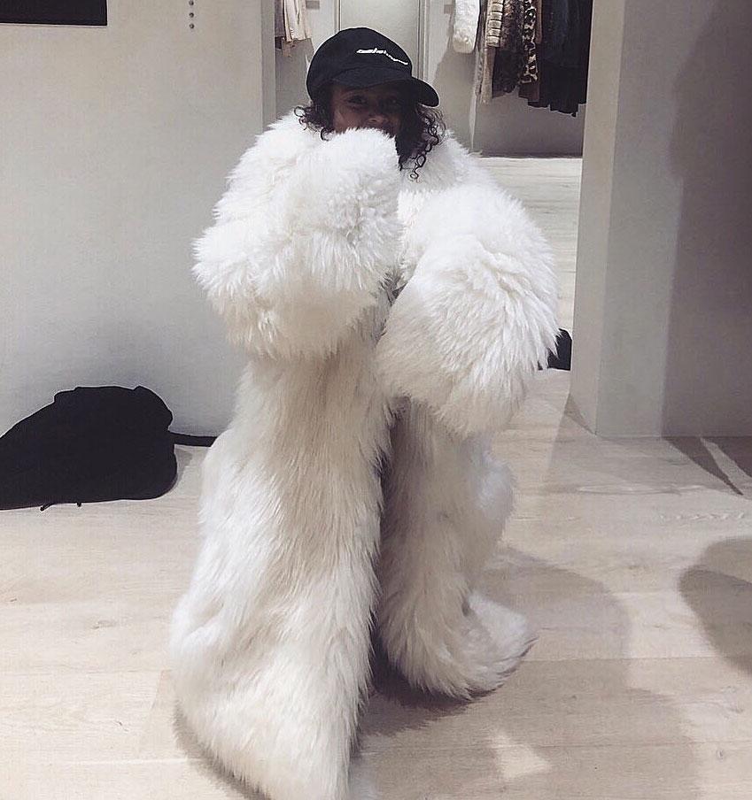 Kim Kardashian North West Fur Coat