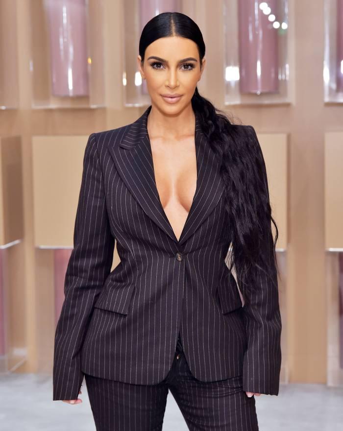 Kim Kardashian Pinstripe Suit December 4, 2018