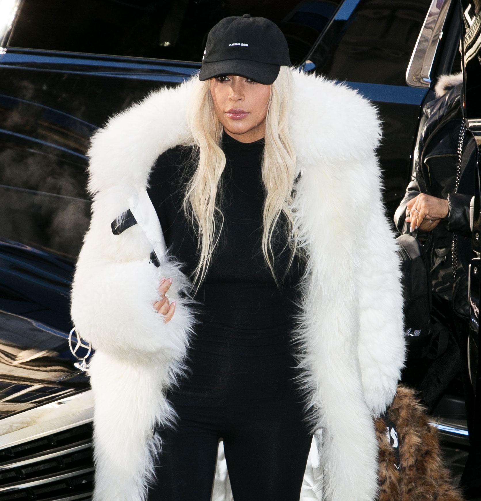 Kim Kardashian White Fur Coat - Kim Kardashian West on February 14, 2016 in New York City.