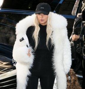 Kim Kardashian White Fur Coat
