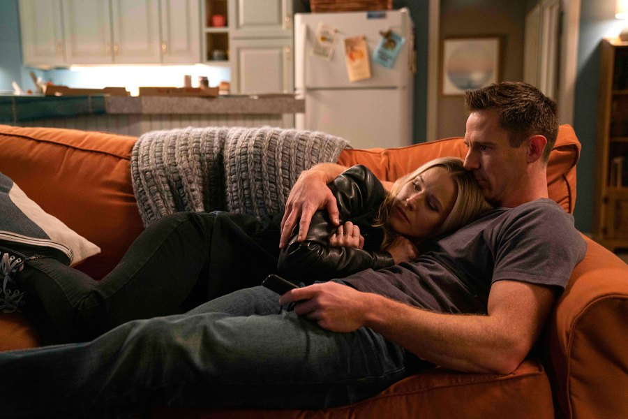 Kristen Bell and Jason Dohring Laying On A Couch Veronica Mars