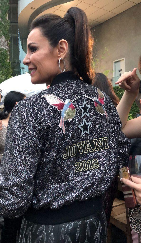 Luann de Lesseps Birds Jacket Jovani Ponytail Hoop Earrings