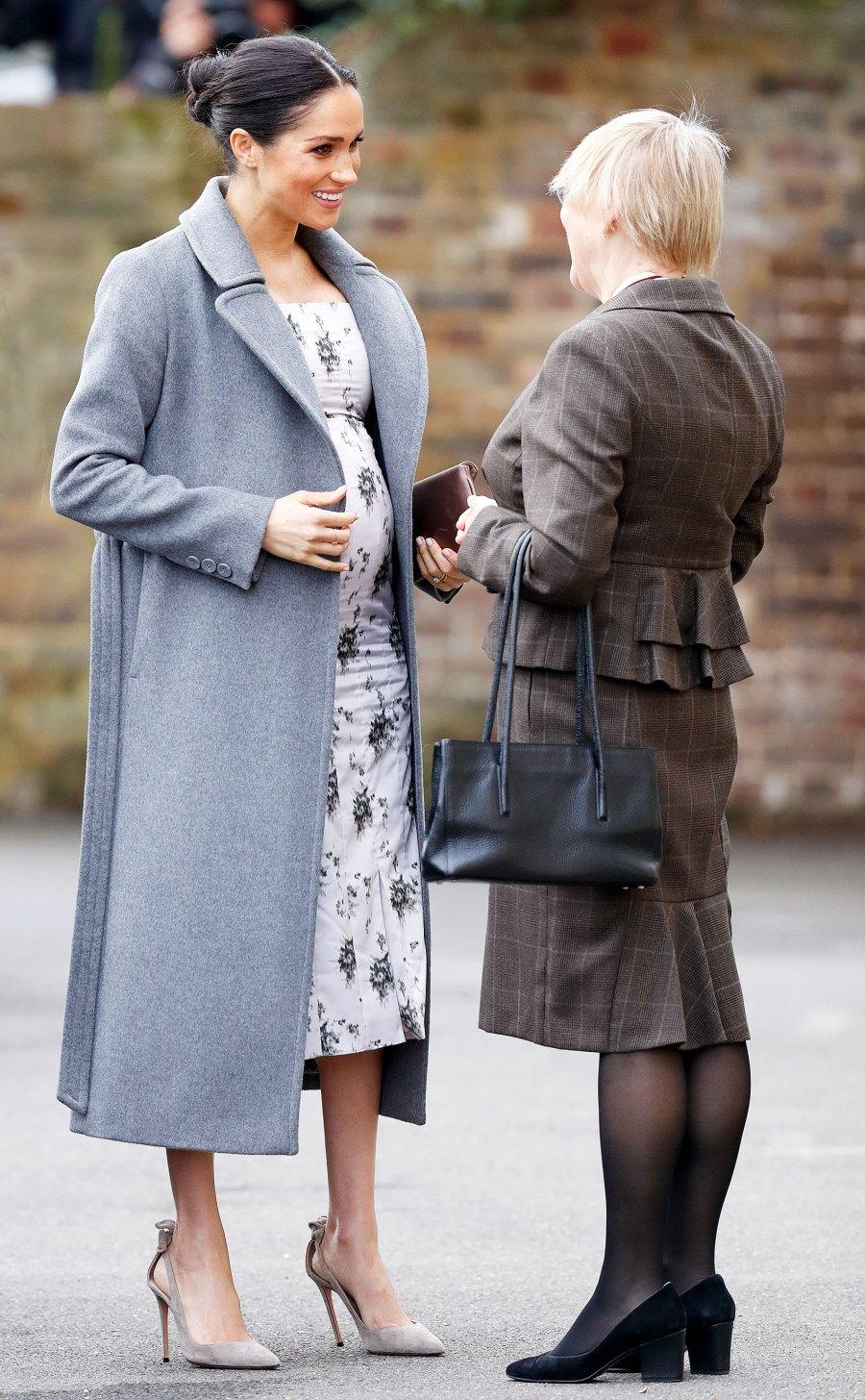 Meghan Markle Grey Coat Floral Dress