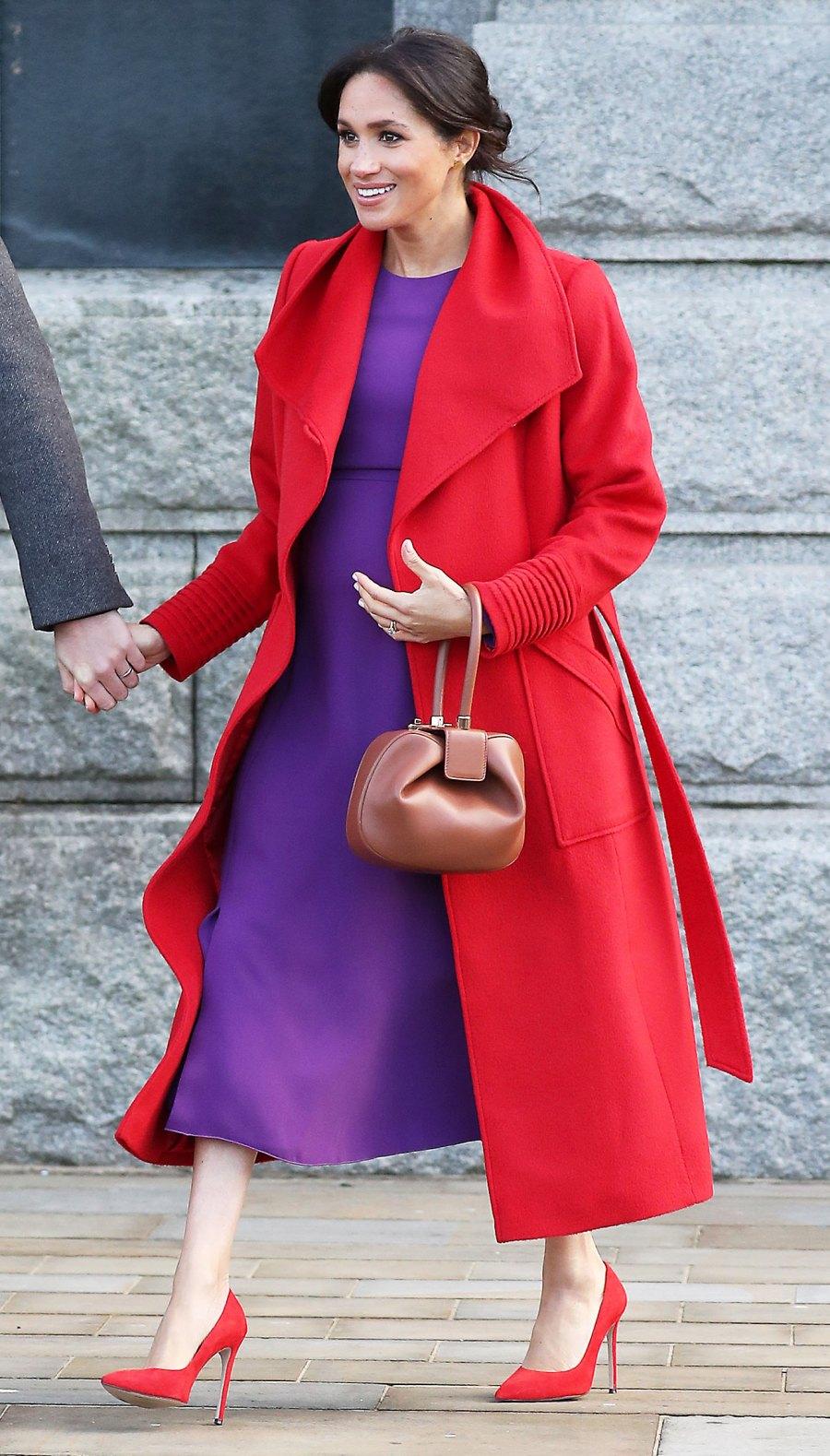 Meghan Markle Red Coat Purple Dress