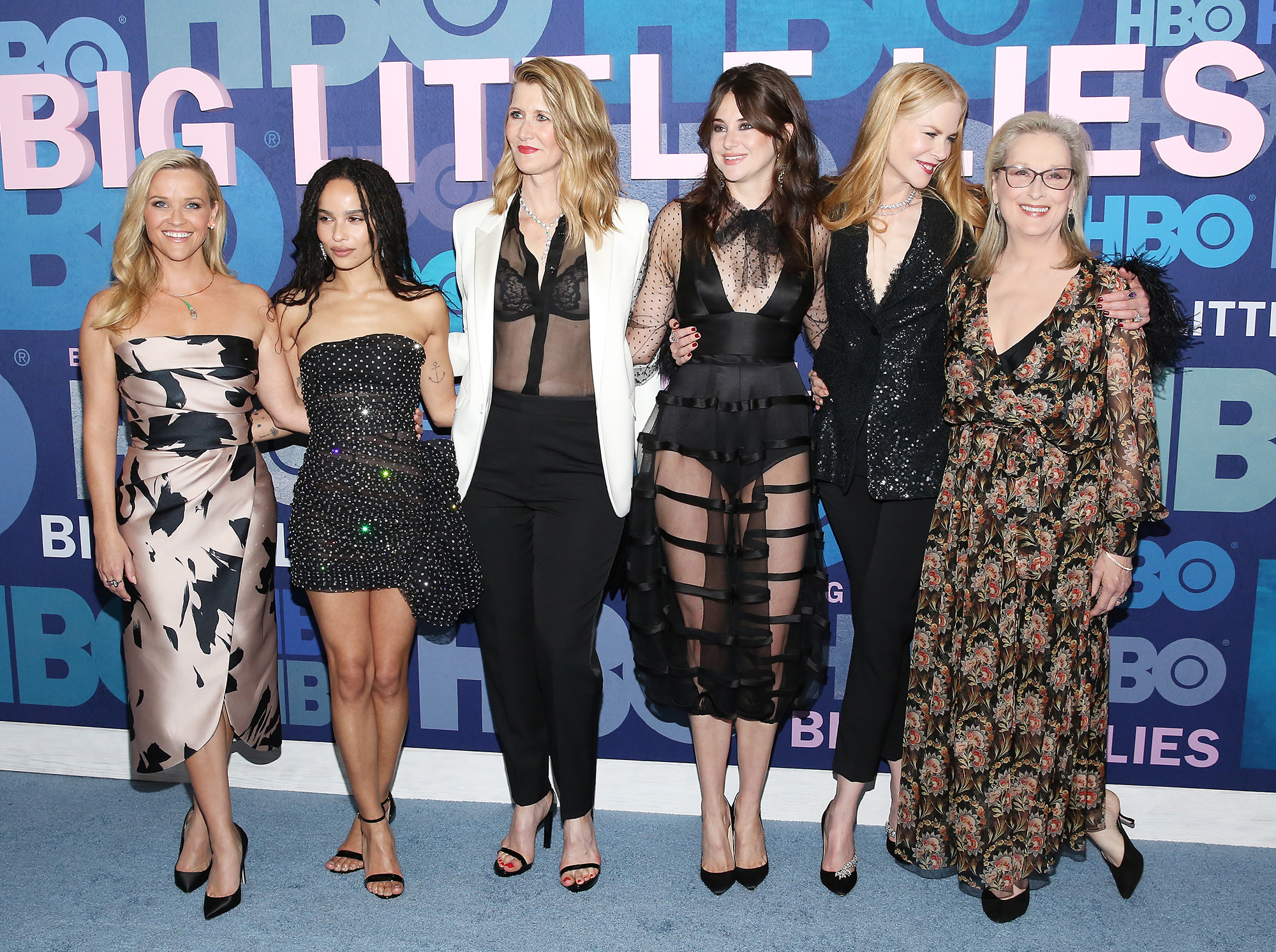 Meryl Streep Big Little Lies Without Reading Script - Reese Witherspoon, Zoe Kravitz, Laura Dern, Shailene Woodley, Nicole Kidman and Meryl Streep.