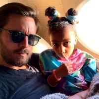 North West and Scott Disick On Plane