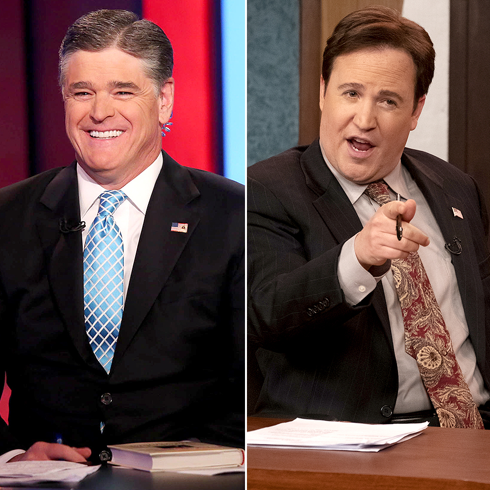 "Patch-Darragh-as-Sean-Hannity - Patch Darragh is portraying Sean Hannity , the political commentator who continuously defended Ailes through the years and even referred to him as a ""second father."""