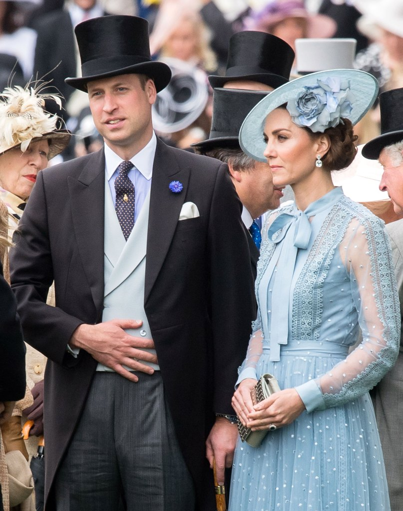 Prince William Wearing A Tux With Tails a Top Hat and Duchess Kate Wearing a Blue Dress With Bow and Blue Hat Fine Dress Royal Ascot