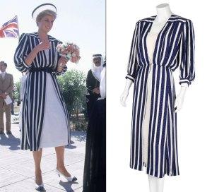 Princess Diana Dress Auction Striped Ensemble