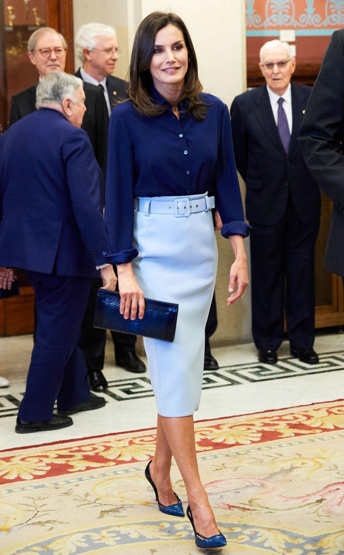 Queen Letizia Blue Top Skirt June 13th