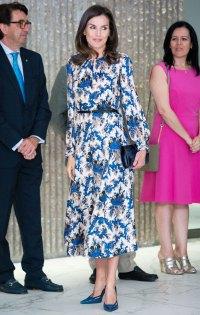 Queen Letizia Blue Printed Dress June 21, 2019
