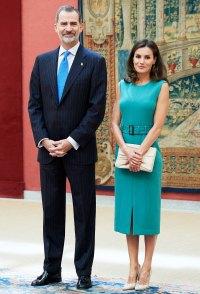 Queen Letizia Teal Dress June 26, 2019