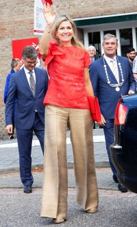 Queen Maxima Wide-Leg Pants Red Top June 20