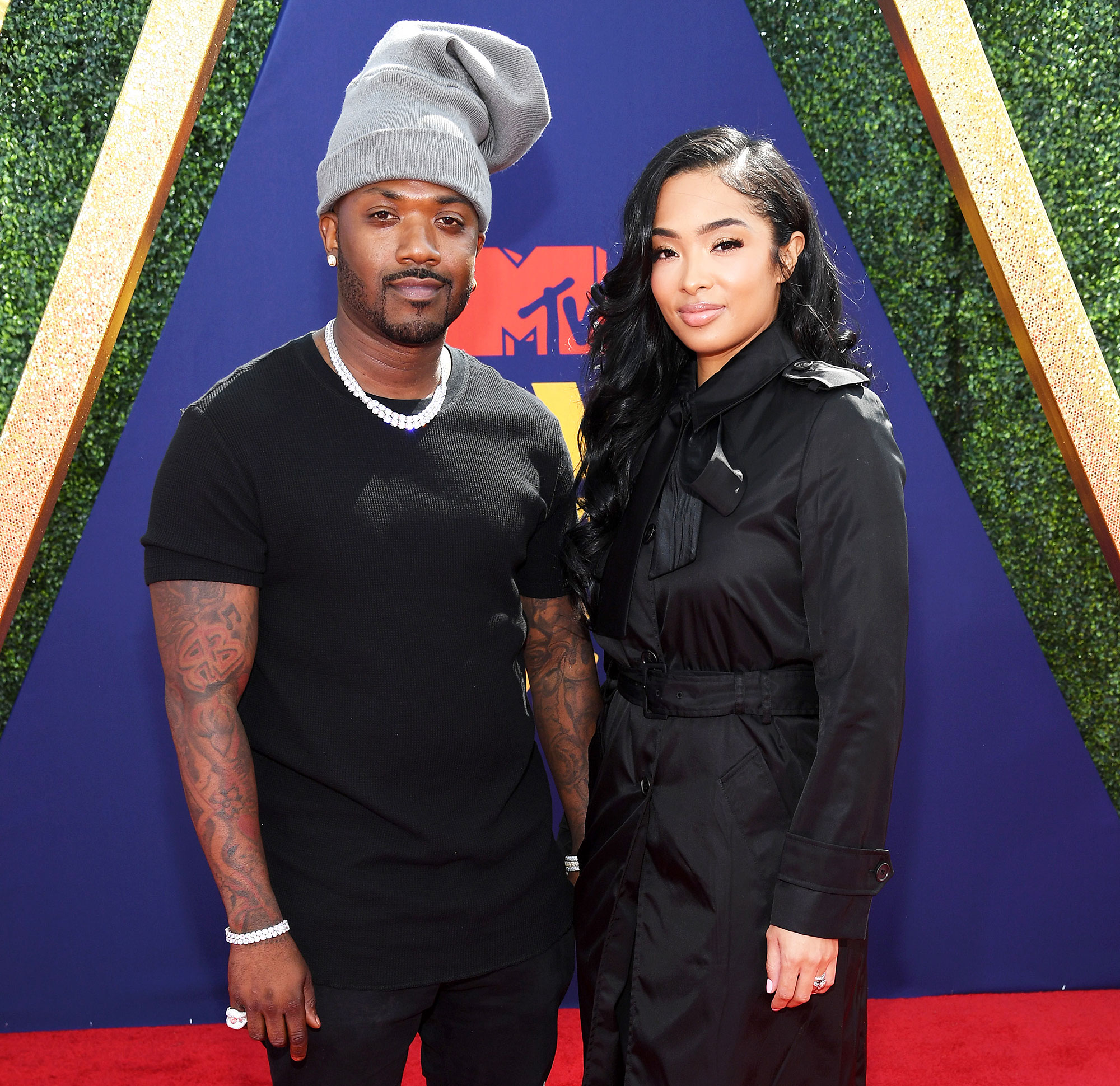 Ray J and Princess Love attend the 2019 MTV Movie and TV Awards Kim Kardashian Sex Tape Joke