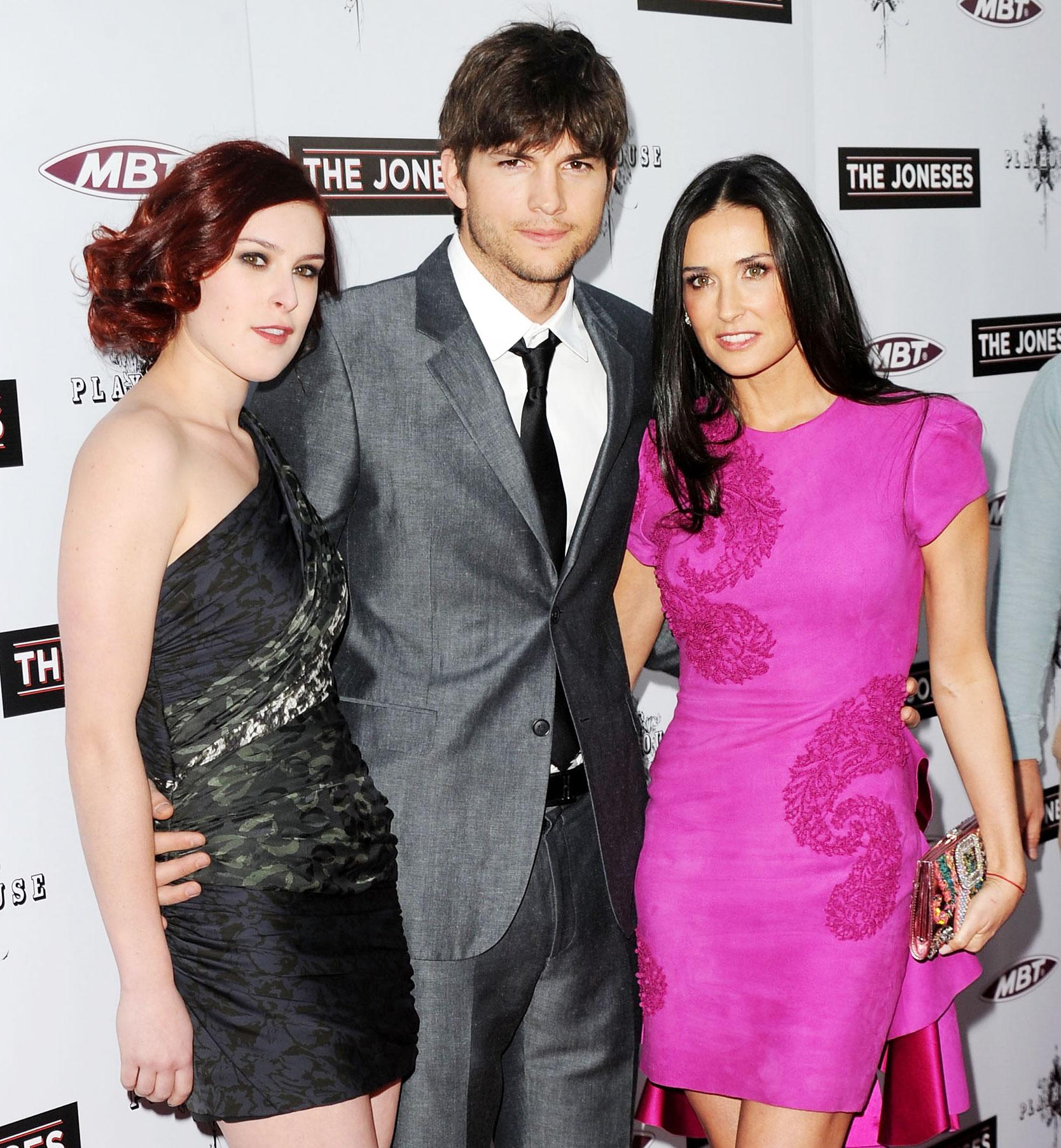 Rumer Willis Ashton Kutcher and Demi Moore at the Premiere of The Joneses