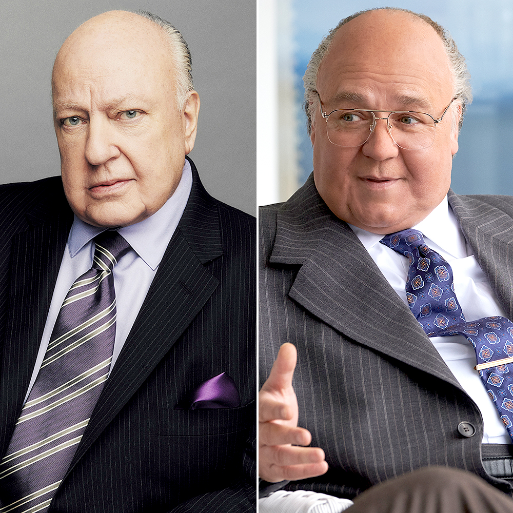 Russell-Crowe-as-Roger-Ailes - The Oscar winner wore two bald caps, a full neck piece and prosthetics to play Ailes. When it began, it was a six-hour process.