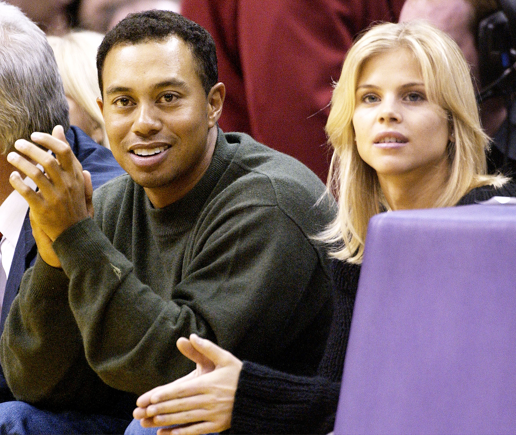 Tiger Woods and Elin Nordegren at Los Angeles Lakers Game in 2003