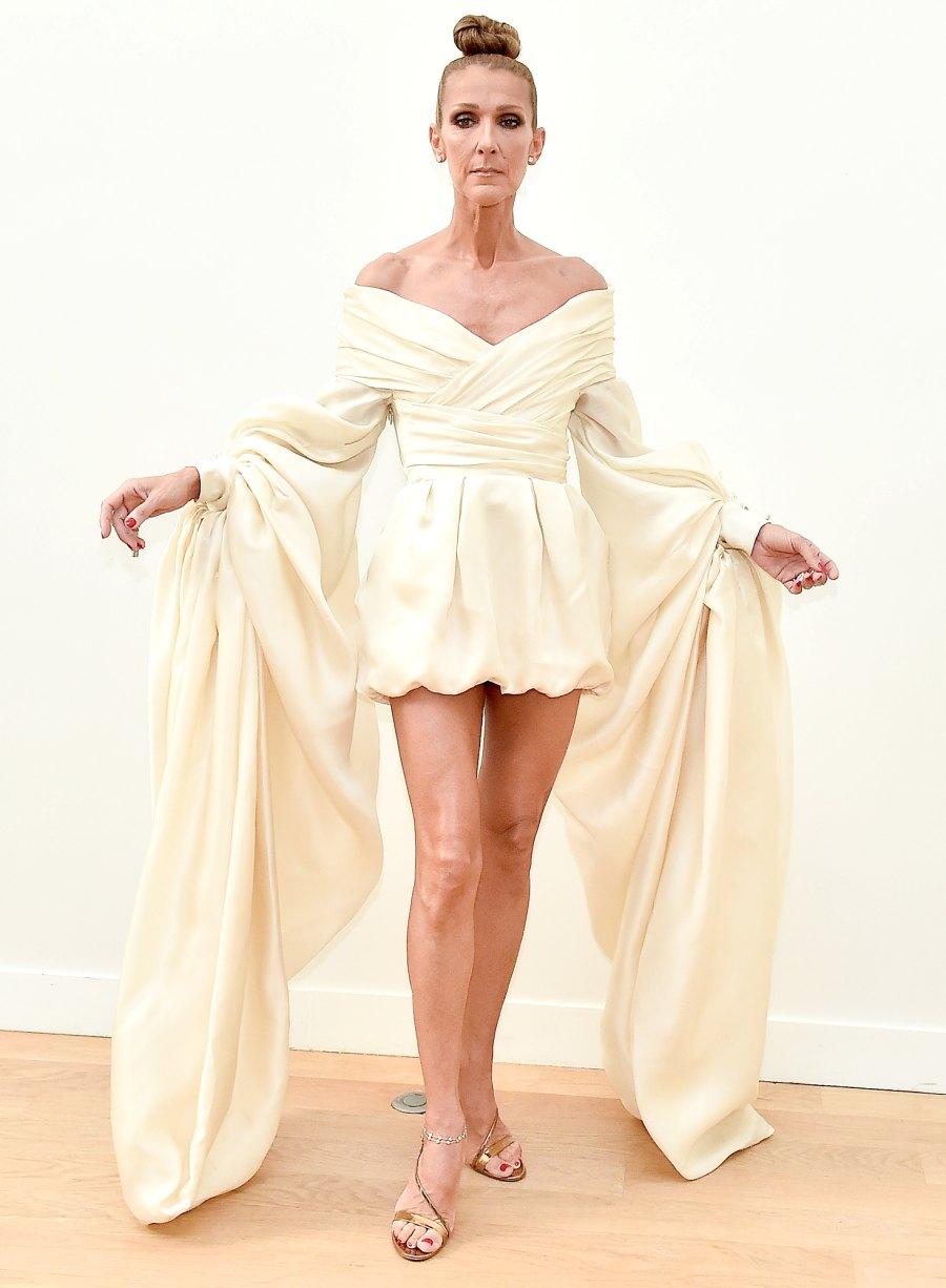 Celine-Dion-Paris-Fashion-Week-cream-dress