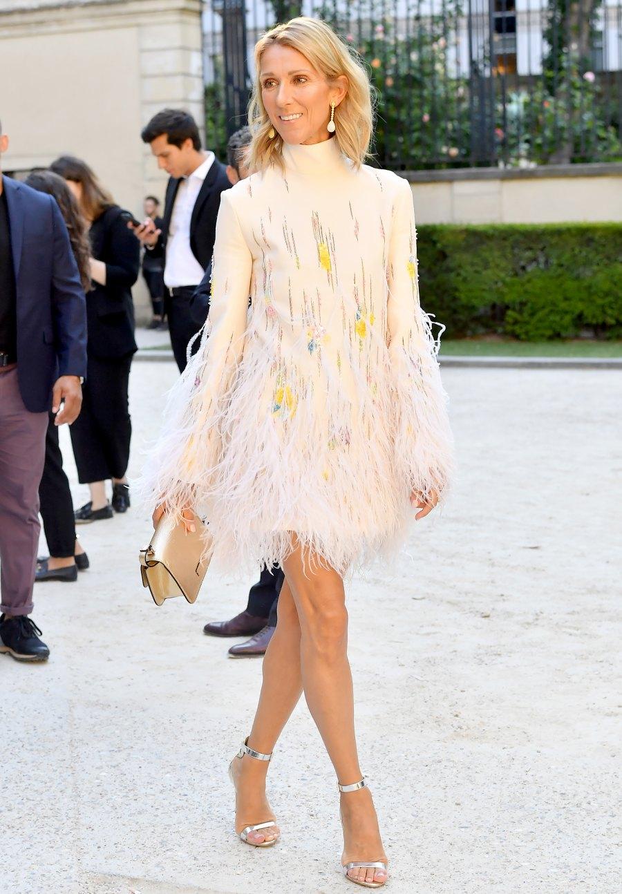 Celine-Dion-feather-dress-Paris-Fashion-Week