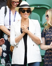 Duchess Meghan Wearing A Hat and Sunglasses and White Blazer Casual Chic on July 4th at Wimbledon