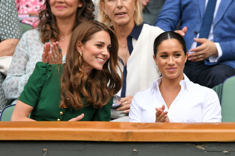 Duchess Meghan and Duchess Kate Look Friendly at Wimbledon Outing