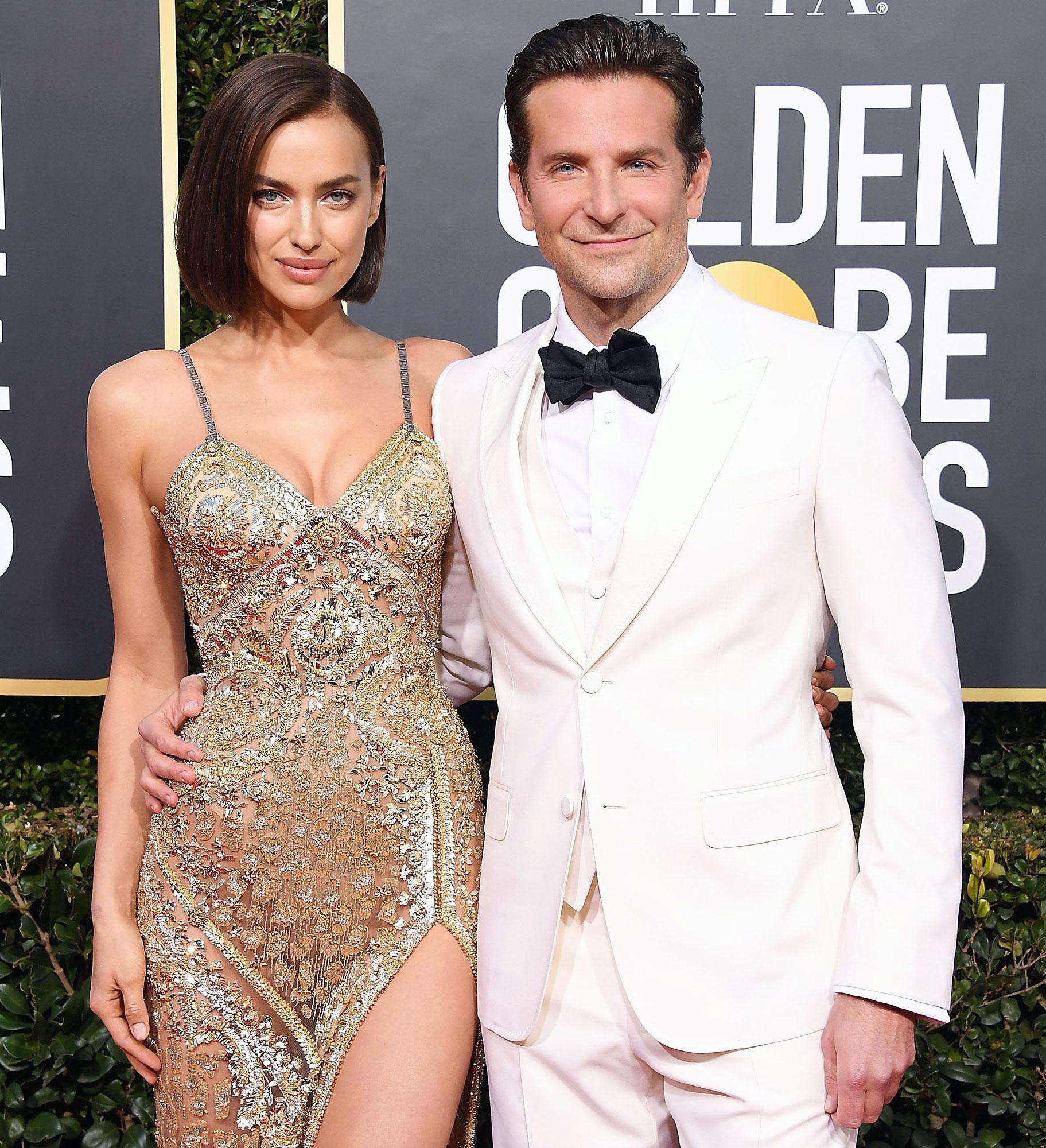 Irina Shayk and Bradley Cooper arrive at the Golden Globe Awards