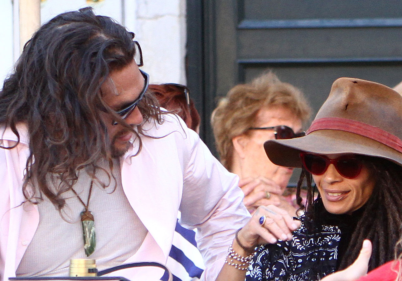 Jason Momoa and Lisa Bonet Explore Italy - The twosome took a load off to recharge, getting some face time in as they sat at the café.