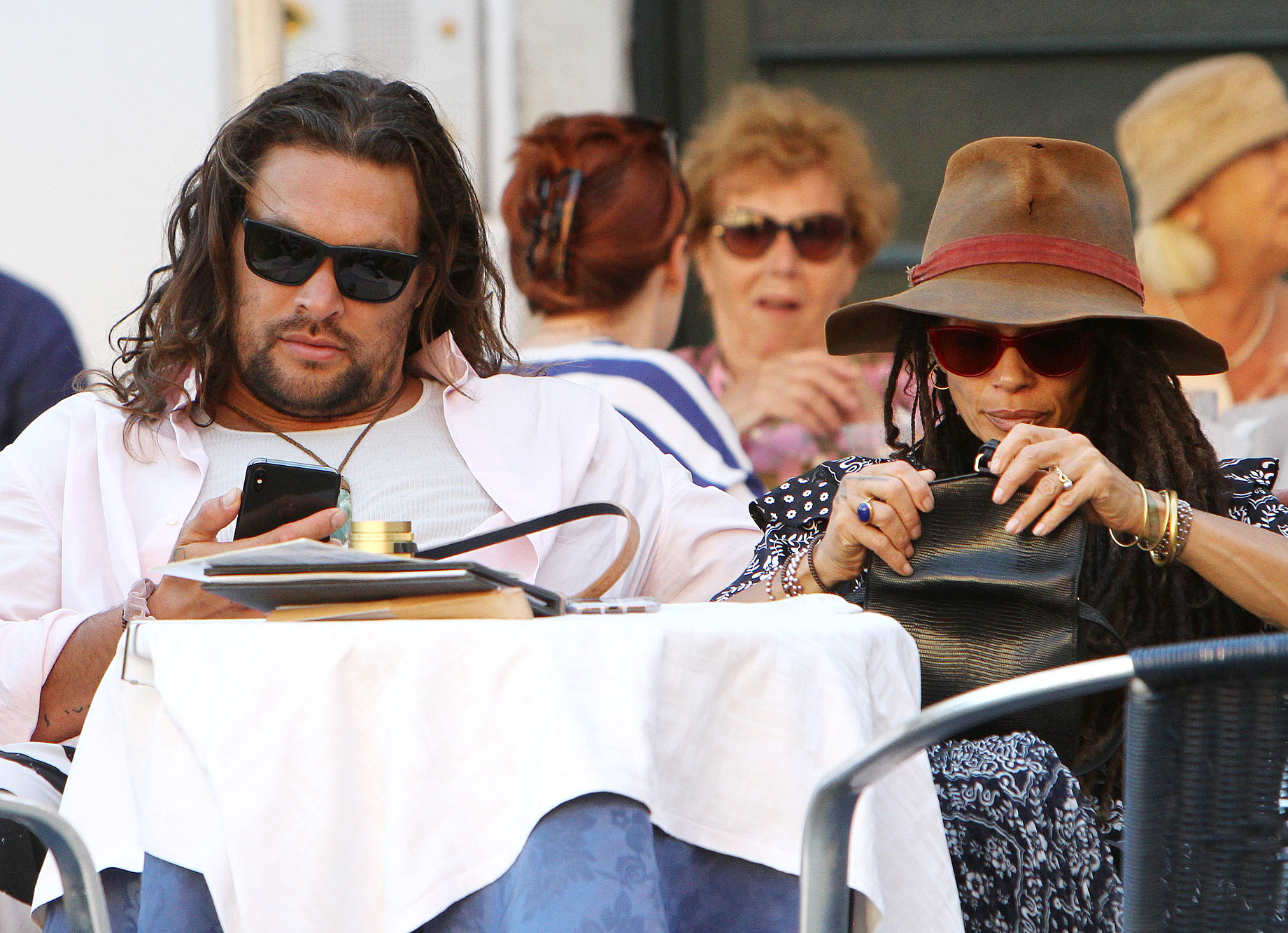 Jason Momoa and Lisa Bonet Explore Italy - EXCLUSIVE: Jason Momoa spotted strolling in Venice with wife Lisa Bonet and their kids ***SPECIAL INSTRUCTIONS*** Please pixelate children's faces before publication. ***.
