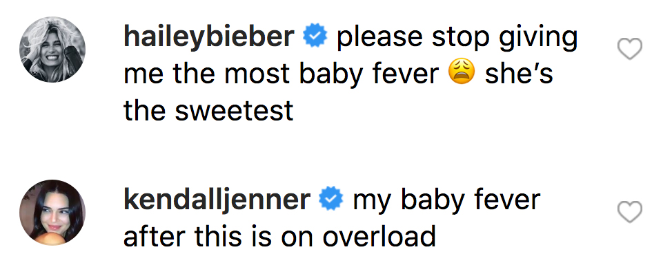 Kendall-Jenner-and-Hailey-Baldwin-baby-fever-comments-instagram
