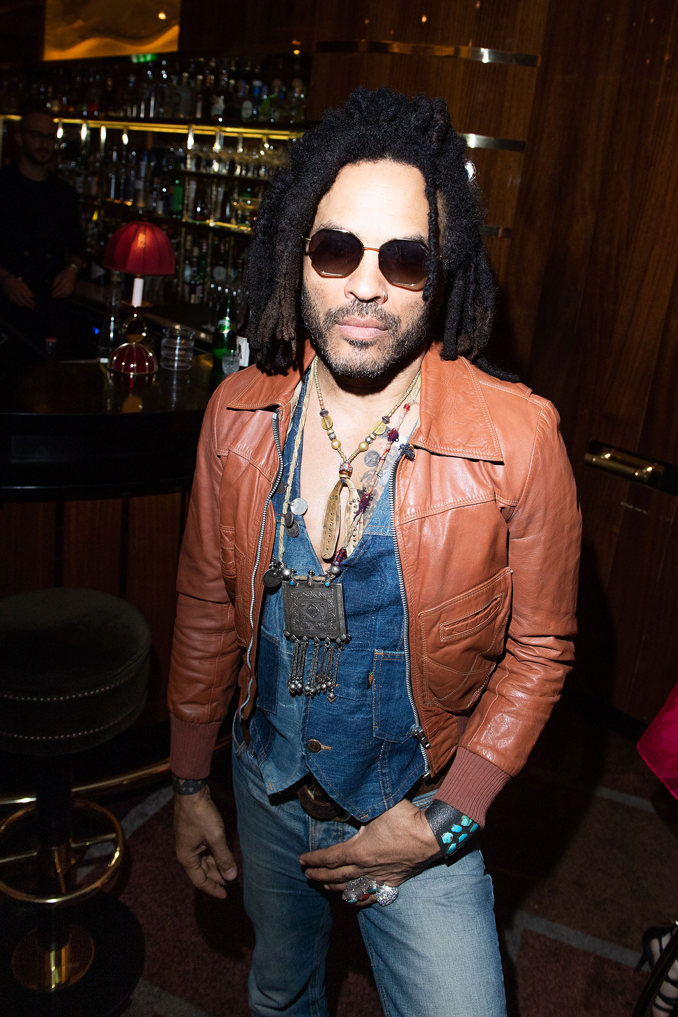 Lenny Kravitz Brown Leather Jacket Sunglasses Explore Italy - Just days earlier, the couple was celebrating Zoë's wedding at Lenny's Paris home.