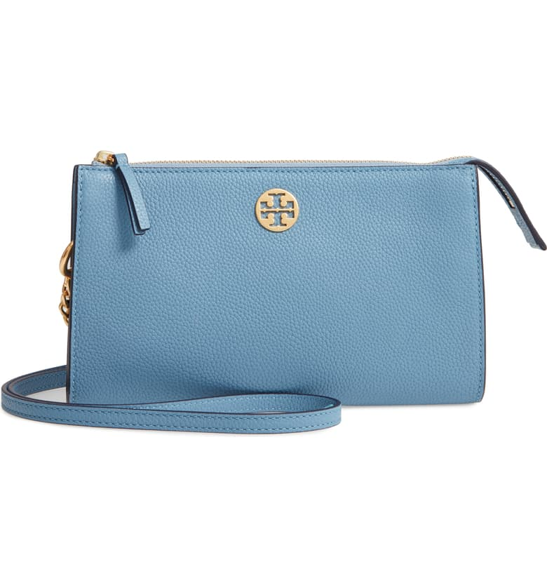 Leather Crossbody Bag, Main, color, BLUE YONDER (28) Mini Everly Leather Crossbody Bag TORY BURCH