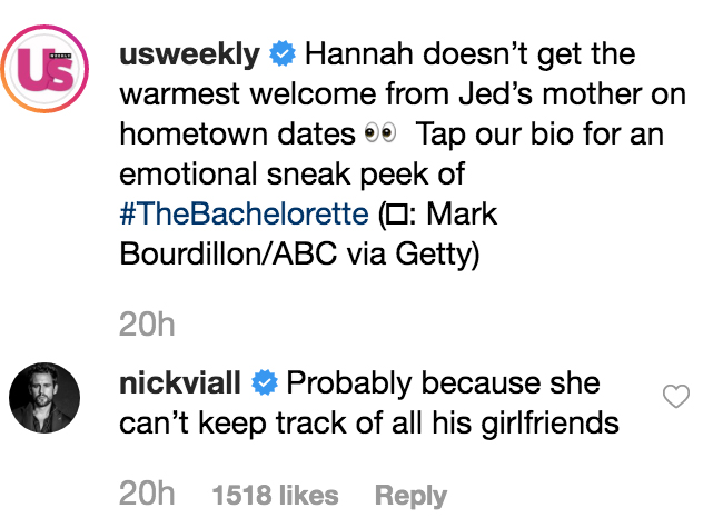 Nick-Viall-Hannah-Brown-Jed-girlfriends-Instagram-comment