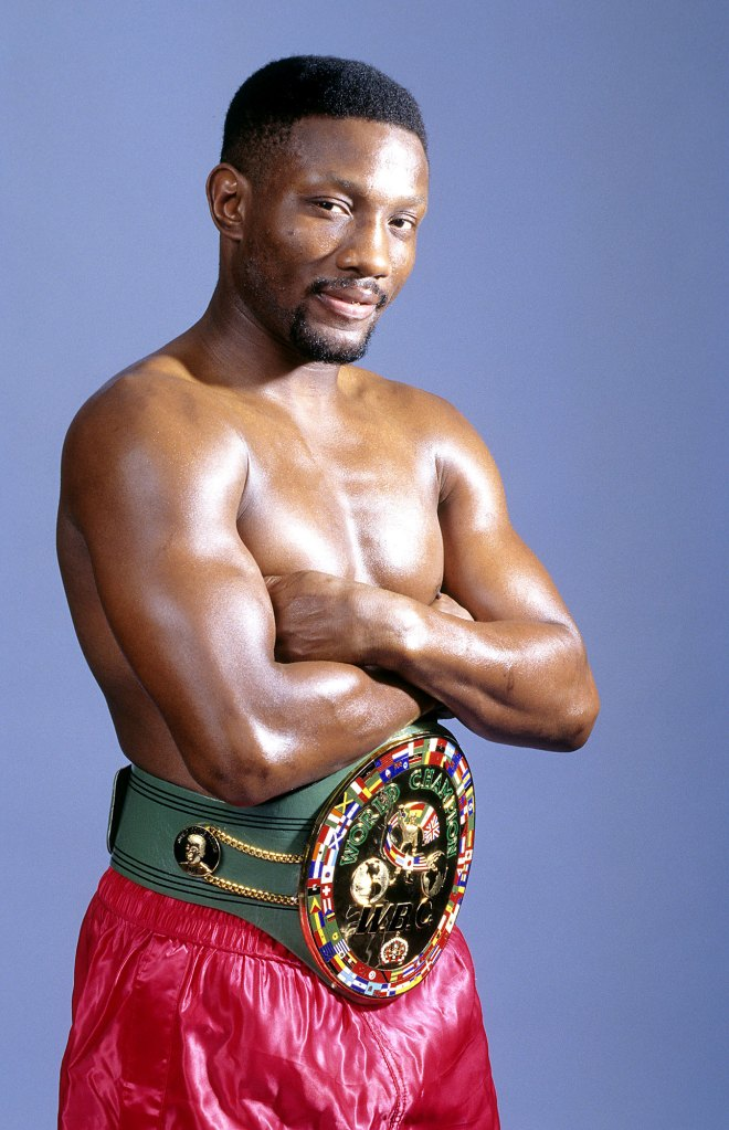 Pernell Whitaker Red Trunks Championship Belt Arms Folded Dead