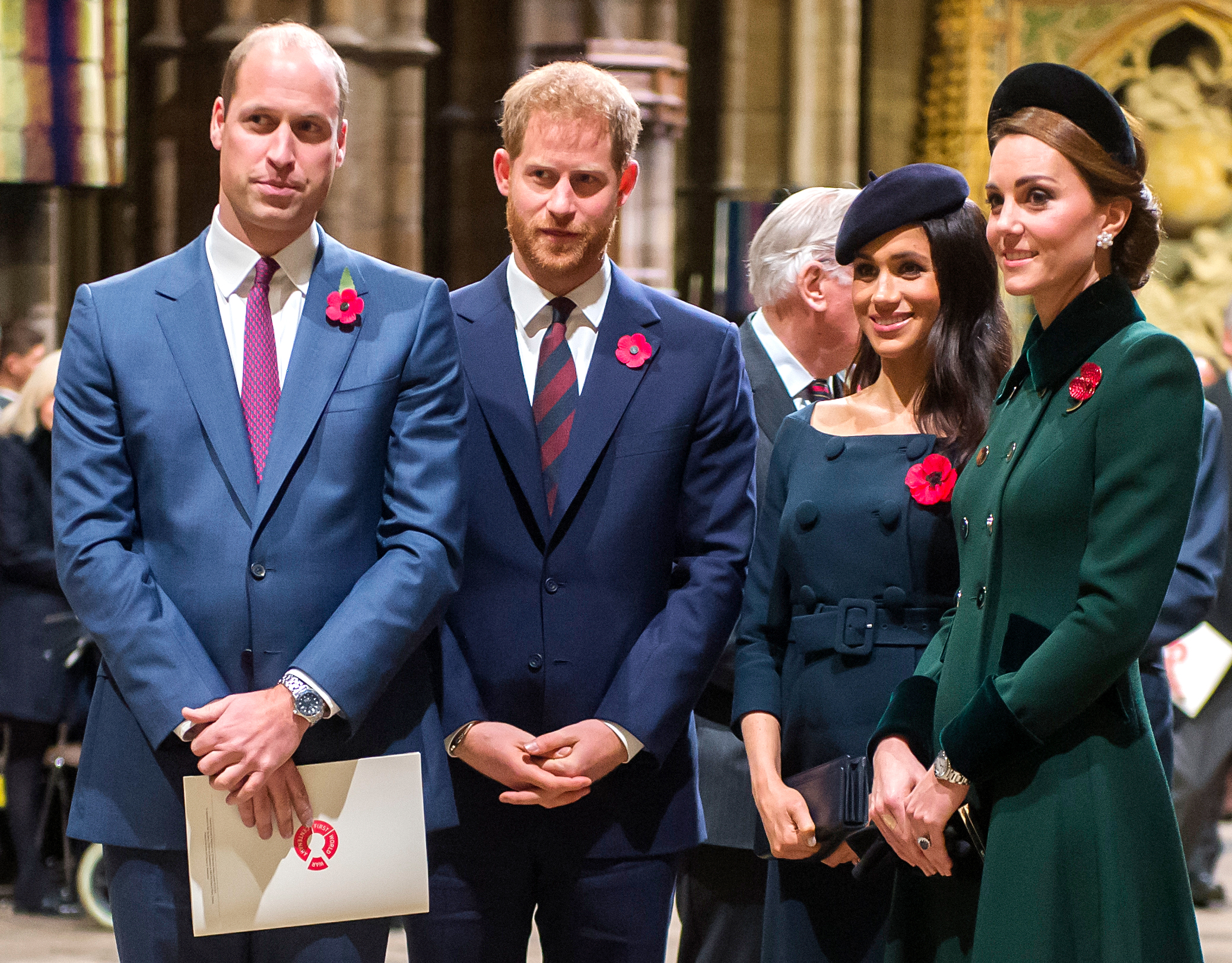 Prince Harry Duchess Meghan New Foundation Details Revealed - Prince William, Prince Harry, Duchess Meghan and Duchess Kate at Westminster Abbey on November 11, 2018.