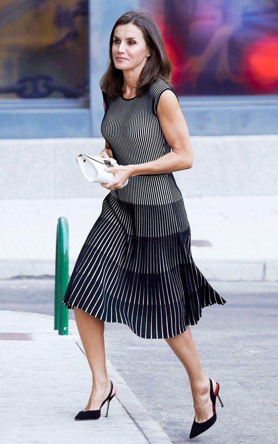 Queen Letizia Black Patterned Dress July 18, 2019