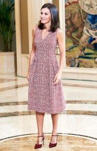 Queen Letizia Cabernet Dress July 19, 2019